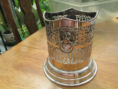 Silver plate lion head handles vintage champagne bottle stand