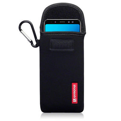 Shocksock Neoprene Pouch Case with Carabiner for Samsung Galaxy A8 2018 - Black