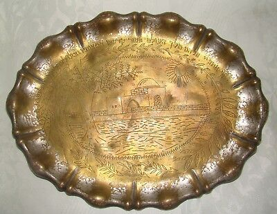 Jewish Judaica Antique Vintage Brass Shabbat Candles Plate Kiddush Rachel Tomb