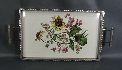 Antique Art Nouveau German Porcelain Pierced Frame Serving Handled Tray Flowers