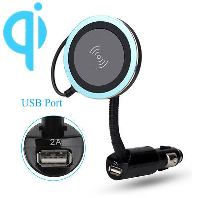 Magnetic Car Phone Qi Wireless Charger Cigarette Lighter Holder Mount USB Gifts