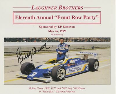 "1999 Bobby Unser signed Indy 500 ""Front Row Party"" Fold-Over handout"