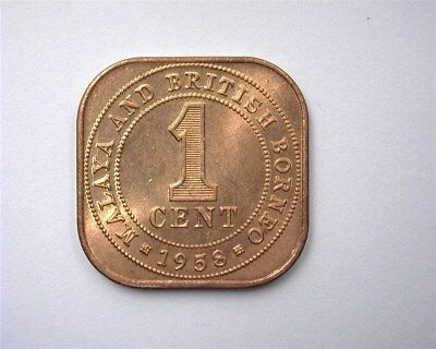 Malaya & British Borneo 1958 Cent  Gem++ Uncirculated Red