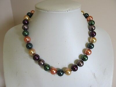 "Vintage Colorful 18"" Glass Knotted Bead Necklace"