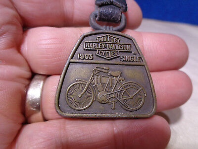 Antique Advertising Metal Keychain Fob Watch Fob  **harley Motorcycle**