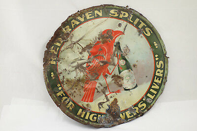"Vintage Red Raven Splits Tin Litho Advertising Tray Sign ""For High Livers' Liver"