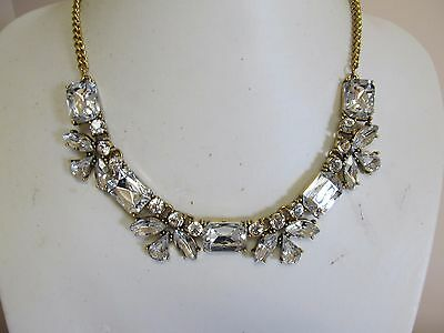 Beautiful Shiny Thick Faceted Rhinestone Necklace In Gold Tone