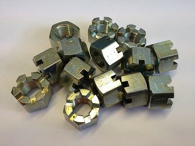 (Qty 2) 9/16Unf Slotted Castle / Castellated Nuts Thick Type Steel Zinc Plated