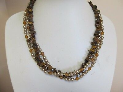 3 Strand Polished Stone Chips & Faux Pearl Necklace