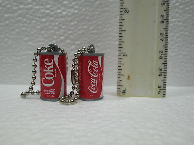 TWO (2) RARE VINTAGE ORIGINAL Coca~Cola 1 inch PLASTIC CAN KEY CHAINS