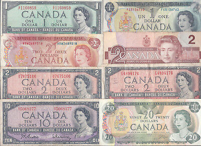 Canada, Group of 8 OLDER Canadian Paper Money, Mixed Condtion, FV $40.00!!