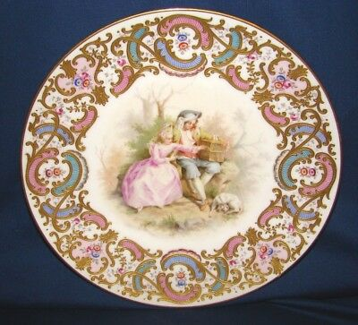 Ernst Wahliss Vienna Porcelain Hand Painted Gallant Couple Plate