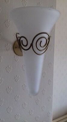 Wall Vases Pair, glass with gold coloured metal holders and screws.