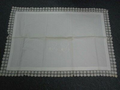 """2 ANTIQUE WHITE LINEN FLAT PILLOW COVERS with EMBROIDERED MONOGRAM """"CC"""""""
