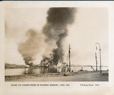 WWII 1943 US Army Sicily Photo Allied oil tanker burns in Palermo Harbor
