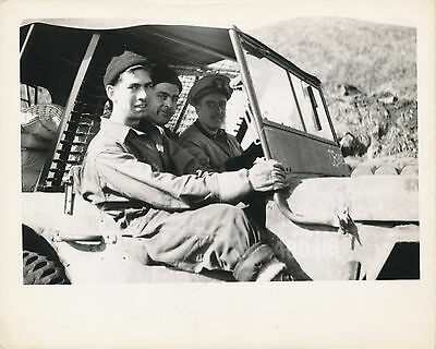 WWII Oct  1943 Tanaga Island AK Seabees Photo Jeep, officer & 2 Seabees