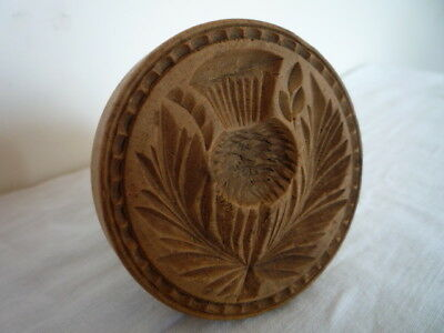 ANTIQUE DEEP CARVED SCOTTISH THISTLE BUTTER PRINT STAMP MOLD MOULD TREEN (b)
