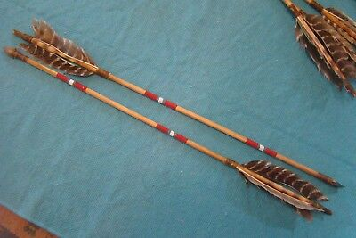 "2-27"" Navajo Painted arrows w/Chipped stone arrowheads Turkey Feathers/Goldtooth"