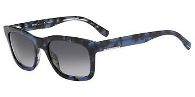 699545cbab HUGO BOSS 0635 S HRNHD Blue Black Havana Sunglasses Grey Lenses 60mm