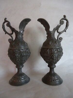 Pair Of Antique Spelter Urns Possible Part Clock Set