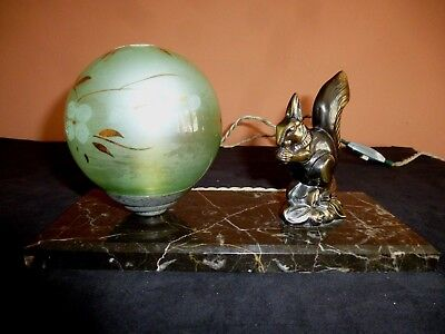 French Art Deco Spelter & Marble Squirrel  Mood Lamp Signed Ted