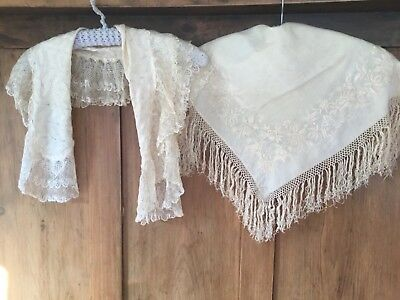 Antique doll's shawls - Chinese sm. silk embroidered + silk knitted shawl & lace