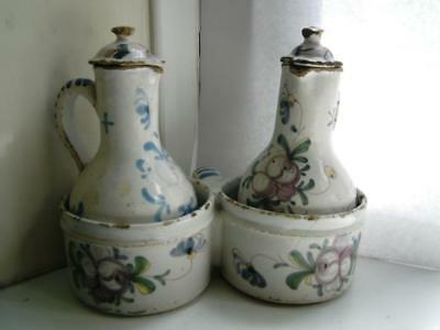 French Faience pottery Condiment vinegar oil jugs & stand late 18thC XVIII C