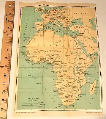 1932 ORIGINAL COLOR MAP of AFRICA ~ Authentic ~ Dated ~ Vintage ~ Rare