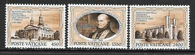 VATICAN - 1989.  First Catholic Diocese, USA, Bicent. Set of 3, MNH