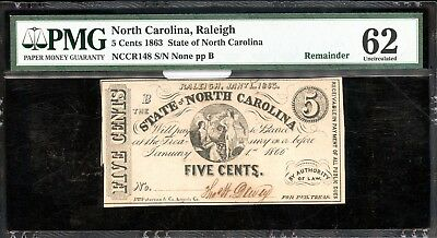 1863 PMG 62 Uncirculated North Carolina 5C Fractional Currency Note AB671