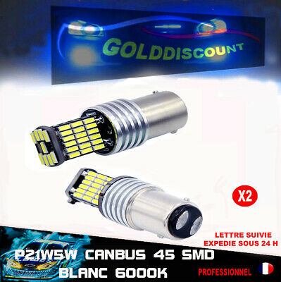 P21/5w led anti erreur odb canbus  45 smd 6000k blanc veilleuse stop *