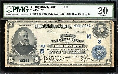 $5 1902 PMG 20 Very Fine First National Bank-Youngstown,Ohio AB673