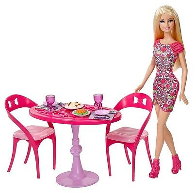 Dining Table with Doll   Barbie   Mattel CCX03   Furniture Kitchen