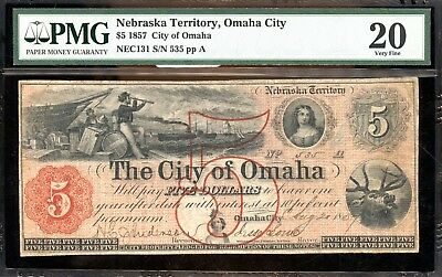 1857 PMG 20 Very Fine U.S. $5 Note Nebraska Territory, Omaha City AB687
