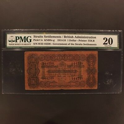 Straits Settlements Dollar 1914-24 P#1c Banknote PMG 20 - Very Fine
