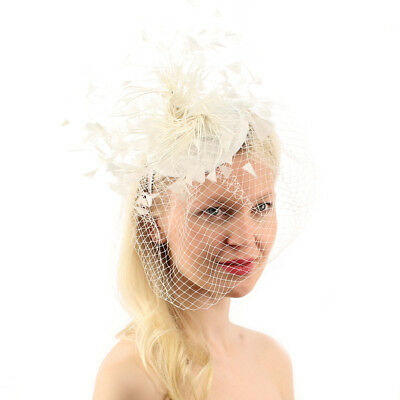 Flirty Feathers Netted Veil Fascinators Headband Cocktail Derby Church Hat White