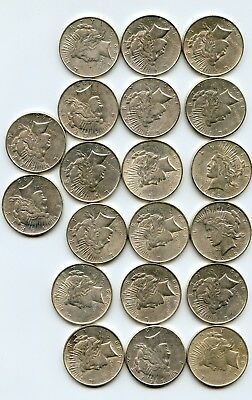 Roll of Silver Peace Dollars  (AU++/UNC)   20 coins.