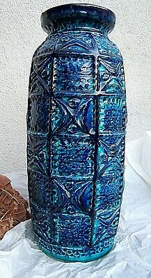 * hohe dekorative tonvase bodenvase made in w germany blautöne