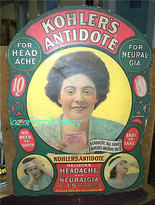Kohler's Antidote Quack Medicine Large C1906-1910S Cardboard Store Display Sign