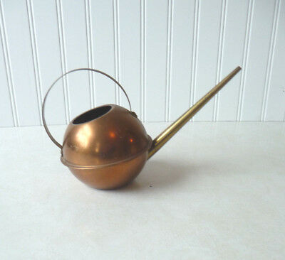 Vintage Copper And Br Plant Watering Can Long Spout