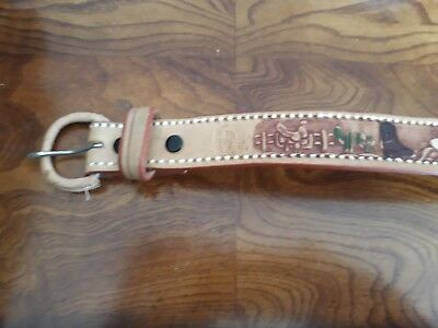 Mexican Tooled Leather Belt Boys Childrens Made In Mexico Cowboy Horse Western
