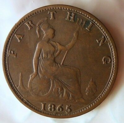 1865 GREAT BRITAIN FARTHING - Rare Date - Scarce Coin - Lot #522