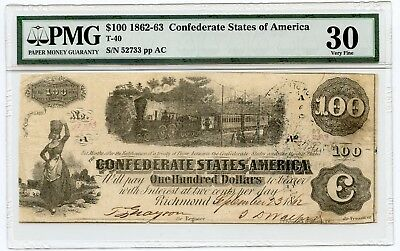 1862-63 $100.00 Confederate States of America Note (T-40) Very Fine 30 PMG.