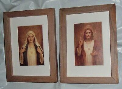 Twin Hearts IMMACULATE HEART MARY & SACRED HEART JESUS  Rustic Wood Frames NEW