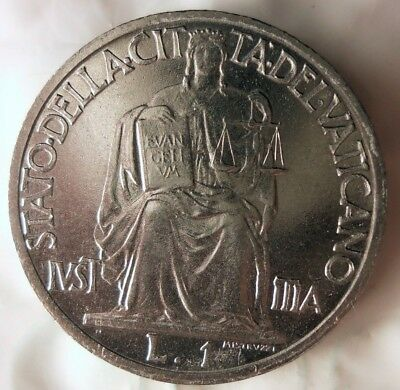 1942 VATICAN CITY LIRA - AU - Very Low Mintage - WW2 ERA Coin - Lot #522