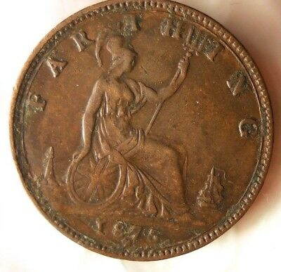 1875 H GREAT BRITAIN FARTHING - Rare Date - Scarce Coin - Lot #522