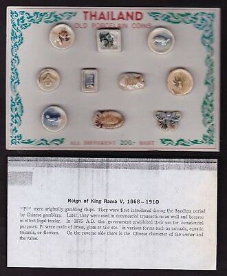 Ten Thailand Porcelain Coins On Cardboard