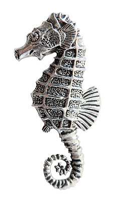 Seahorse Pewter Pin Badge - Hand Made in Cornwall