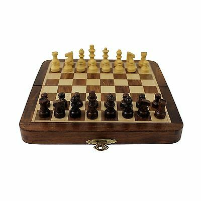 Travel Chess Set Wooden Board Magnetic Game Vintage Folding Portable Urban Home