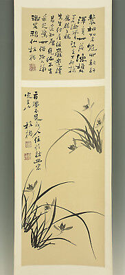 "CHINESE HANGING SCROLL ""Orchid""  @e553"